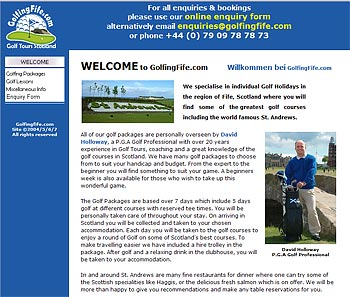 GolfingFife.com website screenshot