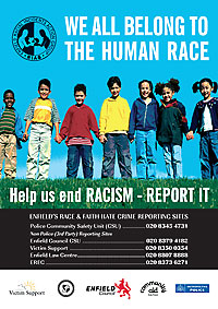 Anti Racism poster for Enfield Council